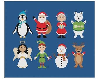 Christmas Characters Cross Stitch Pattern   Xmas Cross Stitch   Festive Cross Stitch   Holiday Cross Stitch   Santa Cross Stitch PDF
