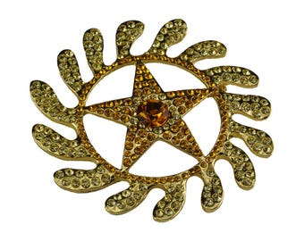 Crystal CZ Morning Star Brooch