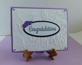 Handmade Pop Up Fancy Gift Card Holder Embossed Graduation Card Graduate Caps, Purple Card Embossed Congratulations Card, Graduate Greeting