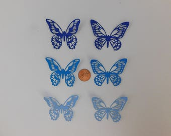 Butterfly Die Cuts 30 small Blue butterflies paper embellishments scrapbook cardmaking cupcake toppers Wedding Confetti Baby shower confetti