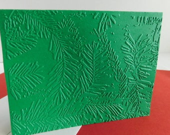 Pine Branch Card embossed Forest Card, Christmas Pine Embossed Pine Greeting card, Blank Pine Card, Embossed Pine branch Forest note card