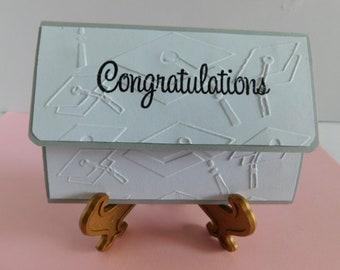 Handmade Pop Up Pink Gift Card Holder / Embossed Graduation Card Graduate Caps, Grad Hat, Embossed Congratulations Card, Graduate Greeting