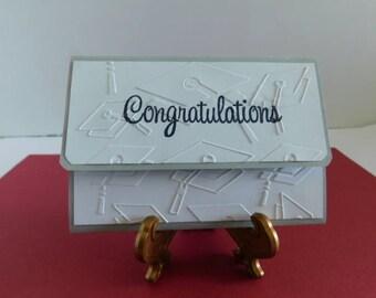 Handmade Floral Pop Up Gift Card Holder / Embossed Graduation Card Graduate Caps, Grad Hat, Embossed Congratulations Card, Graduate Greeting