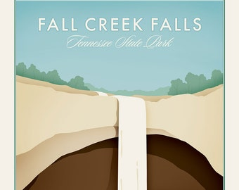 Fall Creek Falls - Tennessee State Park -  Vintage Style Travel Poster - waterfall and visitors