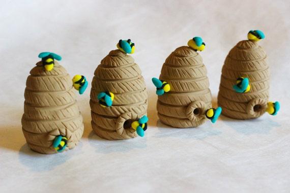 4 Miniature Clay Beehives Wholesale Lot Dollhouse Etsy