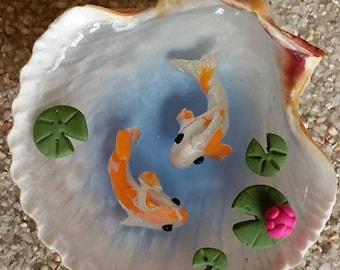 Miniature Koi Pond in Seashell, Fairy Garden Miniatures, Miniature Garden, Dollhouse Miniatures, Polymer Clay Koi, Fairy Garden Accessories