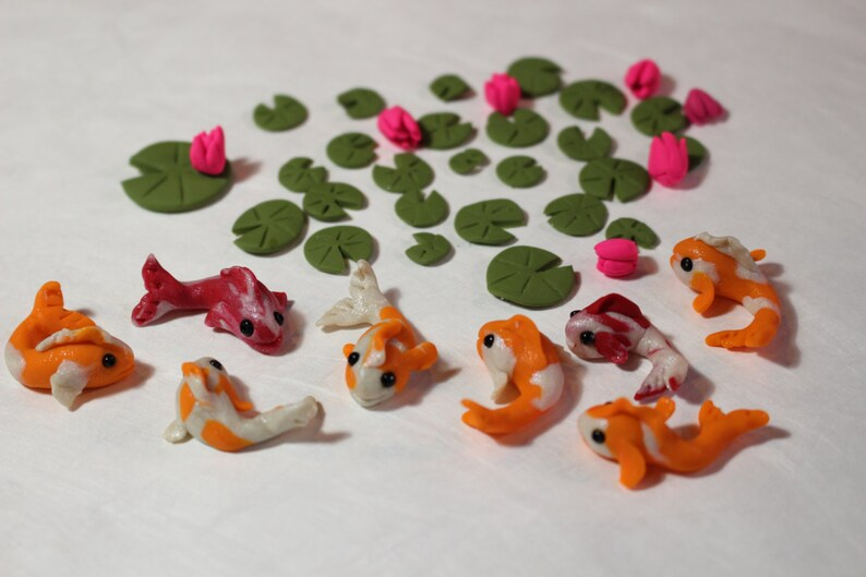Koi And Lily Pad Pond Accessories Miniature Dollhouse FAIRY GARDEN
