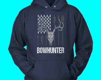 6e3a8e65 American Flag Bowhunter Minimalist Sweatshirt Hoodie Sizes S - 5XL Ten  Color Choices Deer Hunting & Outdoors Hoodie