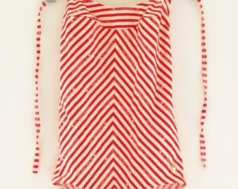 80 ' s TRIUMPH maillot de bain - rouge et blanc rayé - sz S