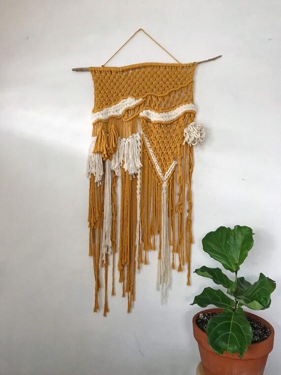 Large Mustard Yellow Macrame Weaving Wall Hanging On