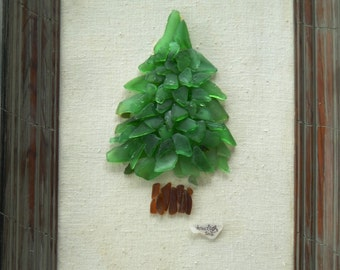 Pearl of the Pines: PEI sea glass Art 12x16