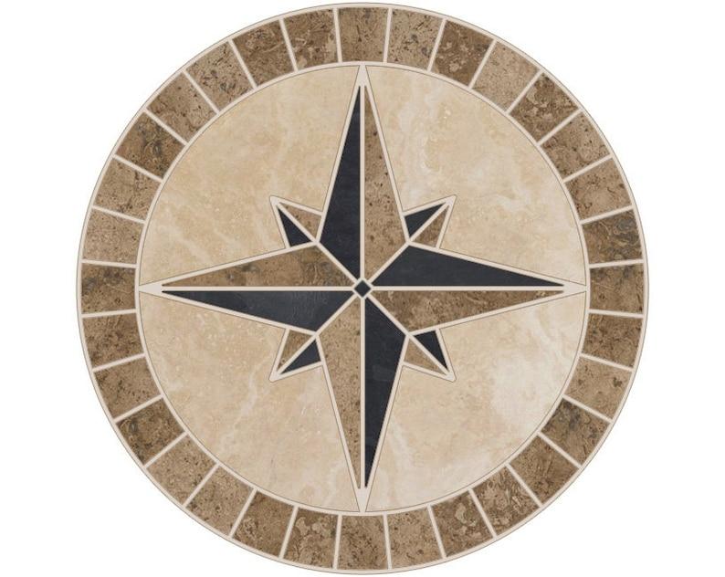 Fliesen Mosaik Medaillon Naturstein Mariners Kompass Rose