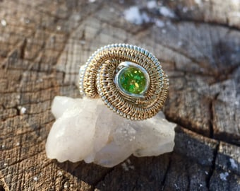Peridot 14ct Goldfill and Sterling Silver Wirewrap Ring