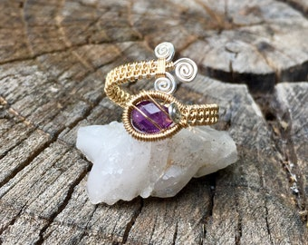 Amethyst 14ct. Goldfill and Sterling Silver Wrap Ring