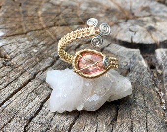 Rose Quartz 14ct. Goldfill and Sterling Silver Wrap Ring