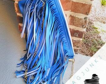 Electric Blue Verge Fringe Clutch