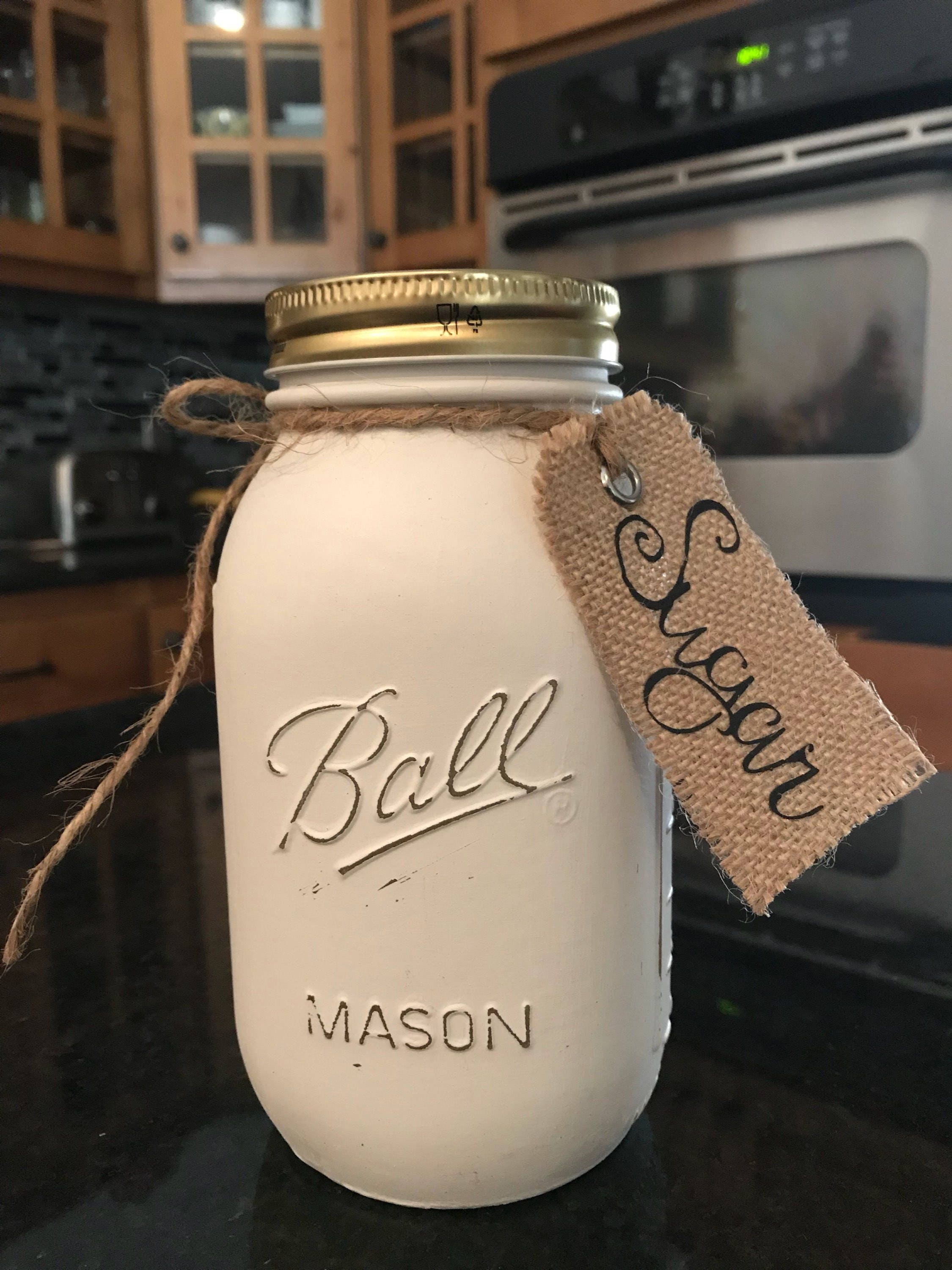 Mason jar kitchen canisters chalk painted and lightly distressed burlap tags included country kitchen decor farmhouse kitchen storage