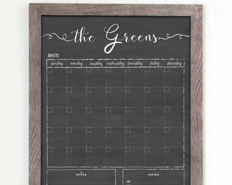 Dry Erase Calendar, 18x24 Customized Dry Erase Wall Calendar, Chalkboard Calendar, Family Framed Calendar, 2018 calendar organizer, #1804
