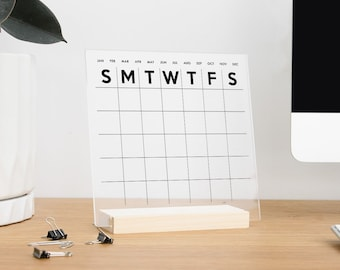 Dry Erase Acrylic Office Desk Monthly Calendar with wood stand for office desk home decor | More Sizes & Colors