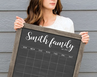 0f5ec9d5 Calendar, Dry Erase Chalkboard Calendar Personalized for your Family |  Small 18x24 or Large 24x36 calendar, est. year, custom bottom boxes #