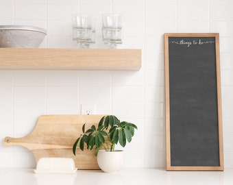 Framed Dry Erase To Do Board, Slim Vertical Chalkboard or Whiteboard available in 9x24 and 14x36, to-do list for kitchen #0919/0920
