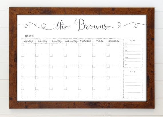 Large Whiteboard Calendar 24x36 Dry Erase Reusable Framed Etsy