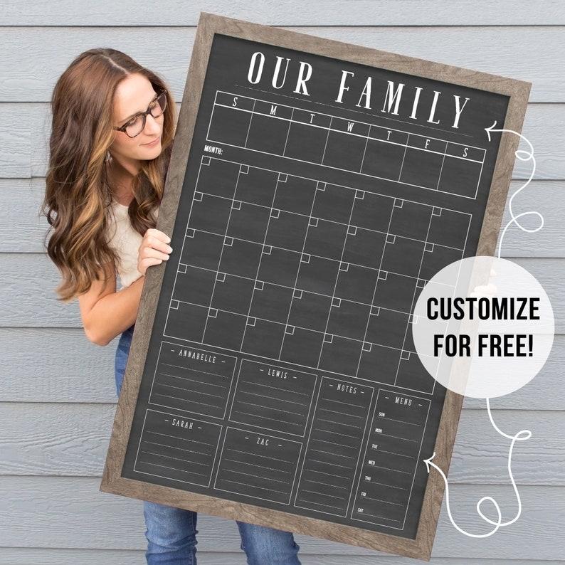 2020 Calendar  Command Center Large Chalkboard Calendar  barnwood