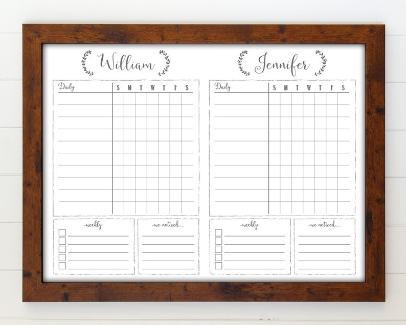 18x24 Two Child Dry Erase Whiteboard Chore Chart  Task Chart walnut