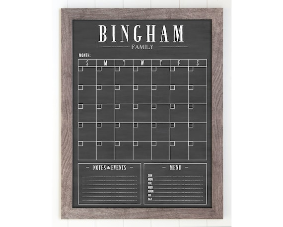 Chalkboard Calendar Canada : Chalkboard calendar dry erase etsy
