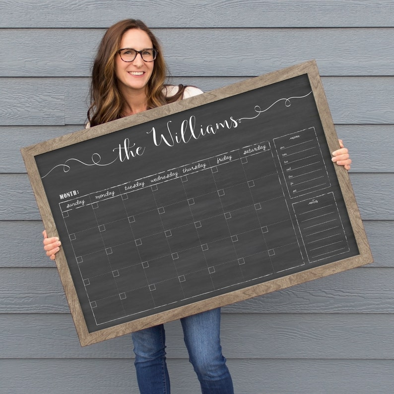 Personalized Dry Erase Chalkboard Calendar  Small OR Large image 0