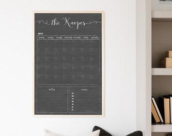 2021 Calendar, Dry Erase Personalized Chalkboard Calendar Farmhouse Style 18x24 or 24x36 Framed Wall Calendar #1804/3620