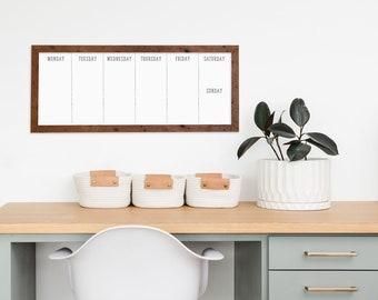 14x36 Weekly Dry Erase Whiteboard Planner, Barnwood, Walnut, Black, White Framed, Organizer, Kitchen, Kids Activities