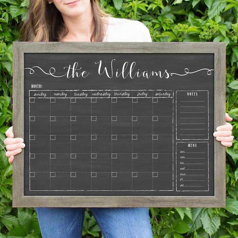 24x18 Personalized Dry Erase Chalkboard Calendar Framed image 0