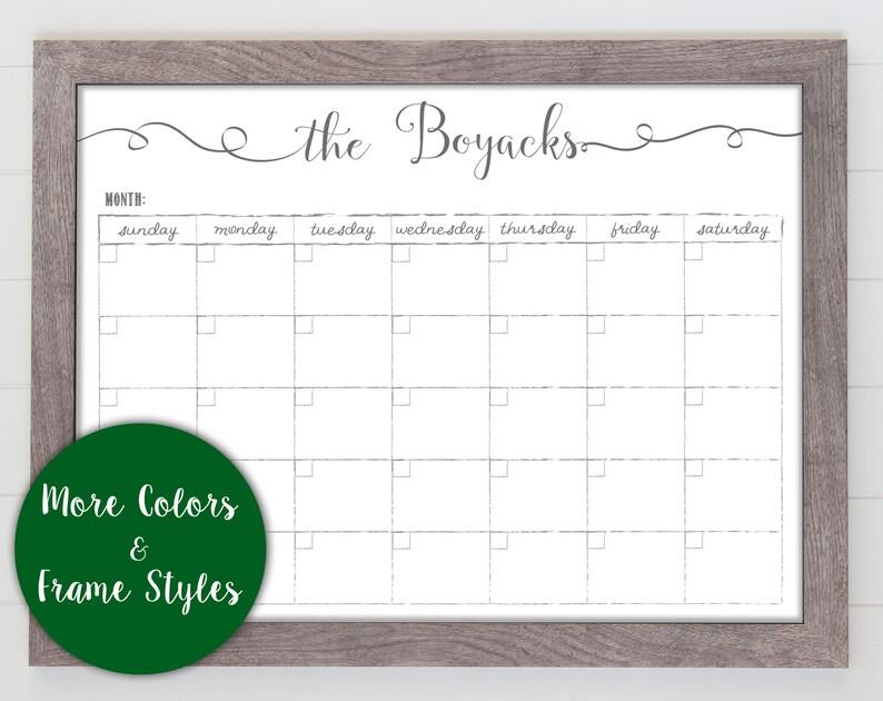 2019 Monthly Whiteboard calendar, Farmhouse calendar, menu planner, framed  wall calendar, dry erase reusable calendar, back to school #1884