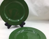 Two Harlequin Homer Laughlin 9 inch green unmarked dinner plates