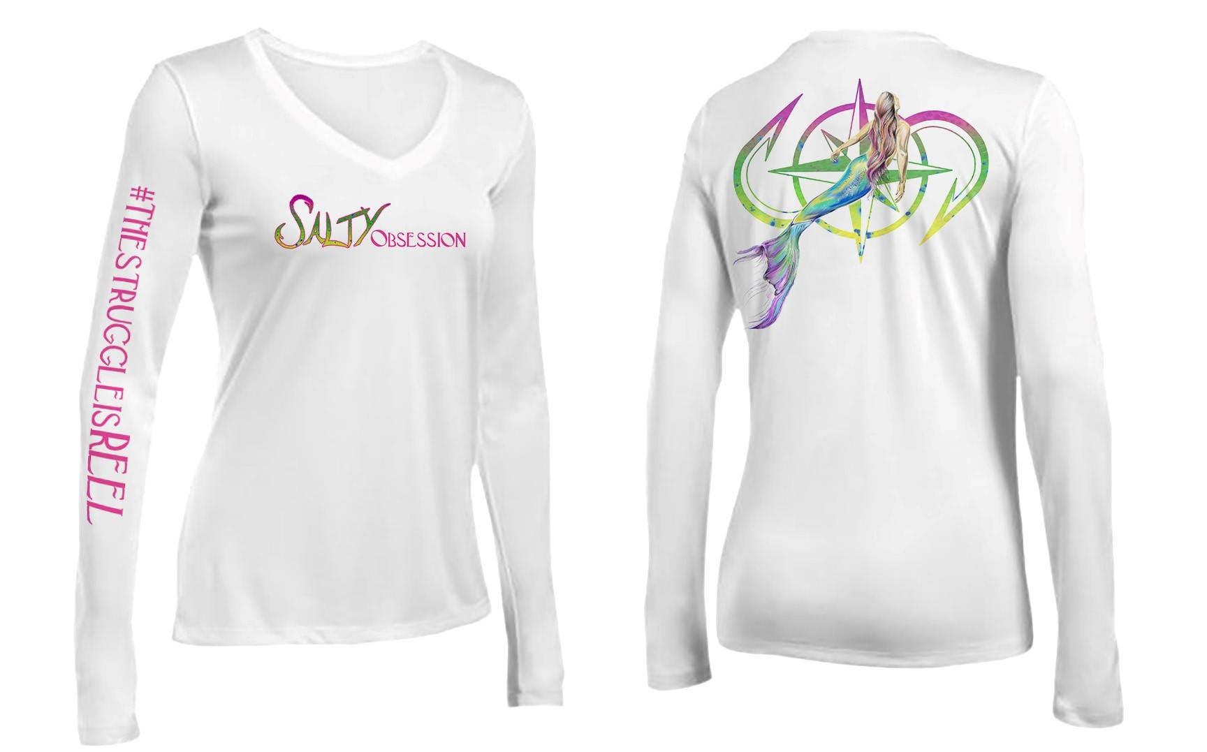 Salty Obsession Long Sleeve White Mermaid Logo Womens Vneck
