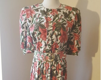 Lady Carol 70's-80's Dress Floral-Elbow Sleeves -Skirt Pleated-Belt! Button Front-SZ 10-12