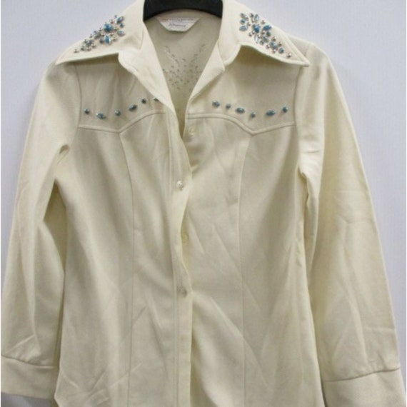 VTG JC Penney sz M embellished western style blous - image 1
