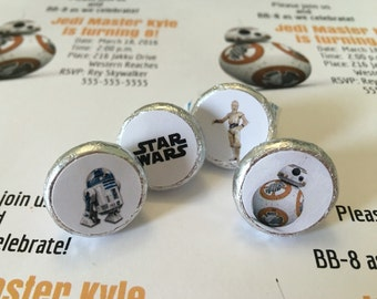 STAR WARS BB8 BB-8 PERSONALIZED HERSHEY/'s NUGGET WRAPPERS BIRTHDAY PARTY FAVORS