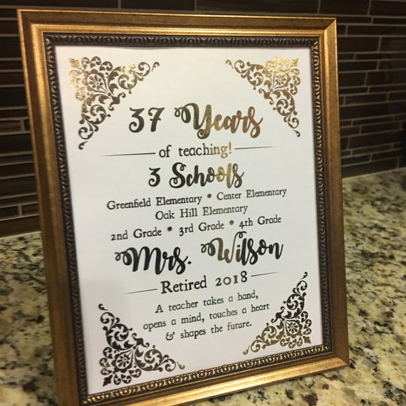 teacher retirement teacher gift printed sign digital diy sign etsy