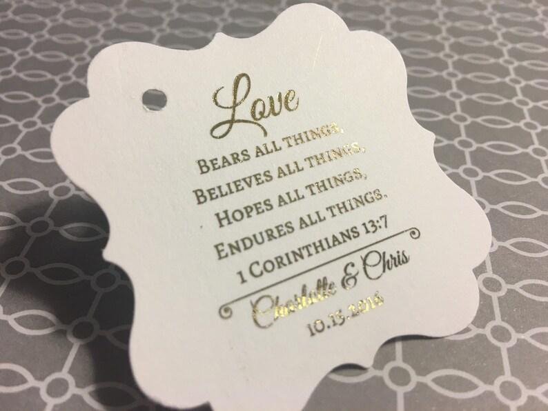 Corinthians love is patient 20 wedding favor tags