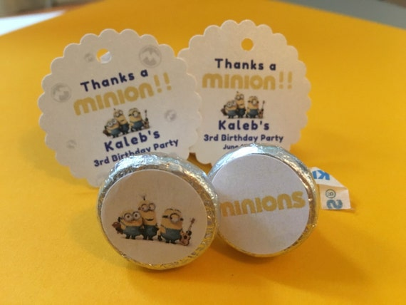 Minion Kissing Camera : Minions party favor tags or minions hershey kiss stickers etsy