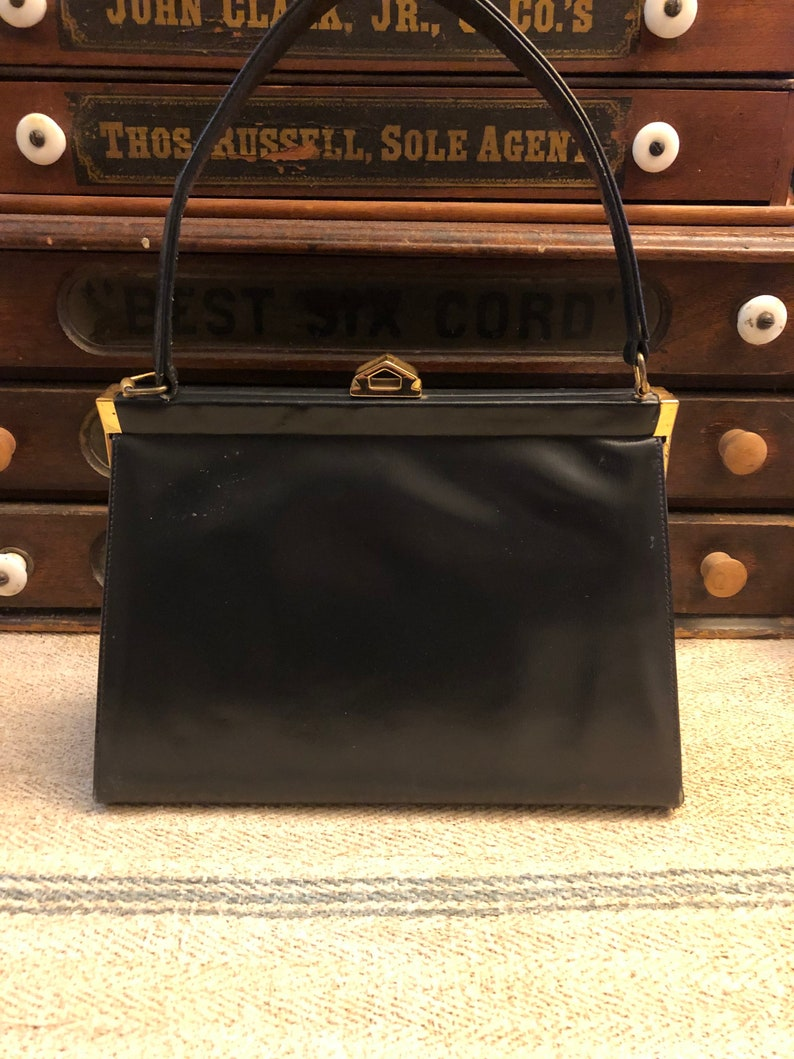?? Unmarked but looks like leather snap Purse with Gold Hinges and Clasp Vintage 1960s Dark Navy Leather