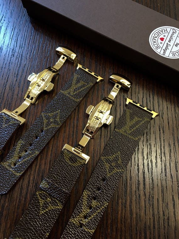 Gold Louis Vuitton Apple Iwatch Band Series 1 2 3 4 146mm To Etsy