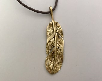 Sacred Feather Brass or Silver Plated Pendant Necklace on Cotton Cord
