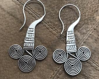 Hill Tribe Spiral Tribal Hook Drop Earrings