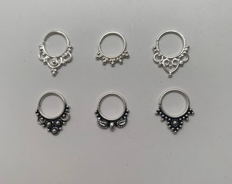 Nose Ring Black Friday Gifts Little Balls Septum Ring,Twisted  Silver Nose Ring,Handcrafted 20g 18g 16g 925 Sterling Silver Septum Ring