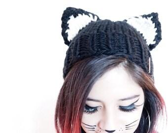 cat ears, cat beanie, black cat, hat with ears, winter beanie, cat costume hat, photo prop, cat hat