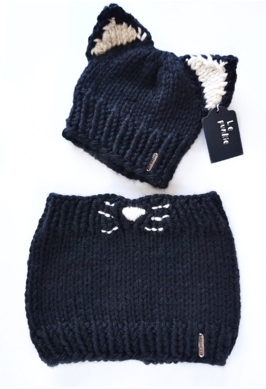 aa720c83842 Cat-set Toddler beanie cat beanie Baby cowl knit