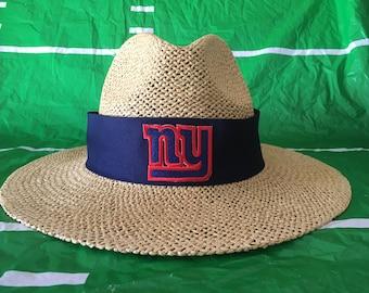 New York Giants straw hat.